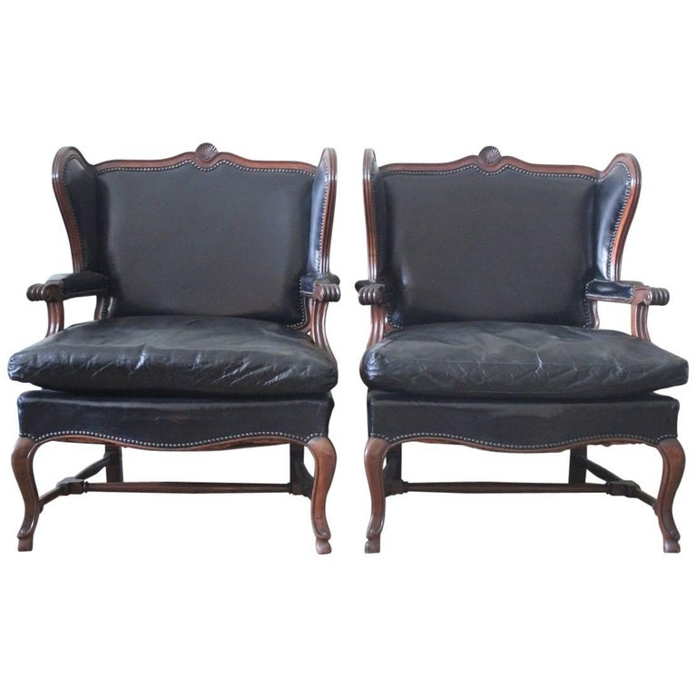 Comfortable Pair of 1930s French Library Armchairs