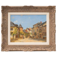 Un Carrefour a Uzerche, an Original Oil Painting by Fernand Quignon