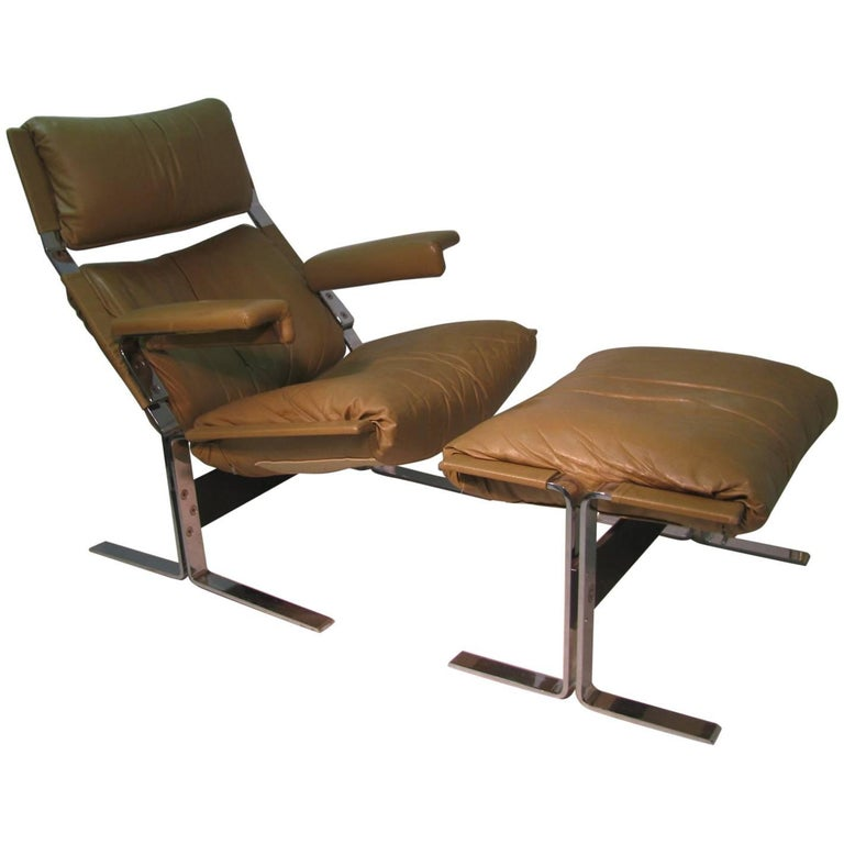 Mid Century Modern Leather Lounge Chair With Ottoman By Richard Hersberger