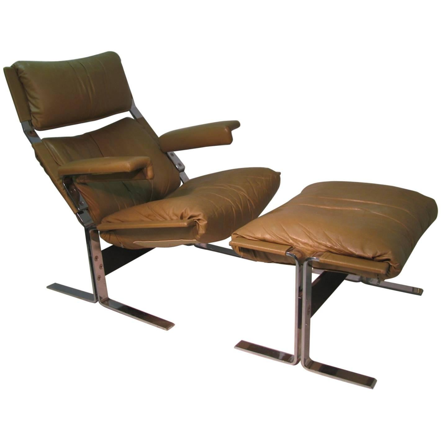 Mid Century Modern Leather Lounge Chair With Ottoman By Richard Hersberger  For Sale