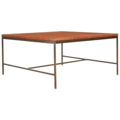 Mid-Century Modern Square Coffee Table in Teak and Brass by Paul McCobb