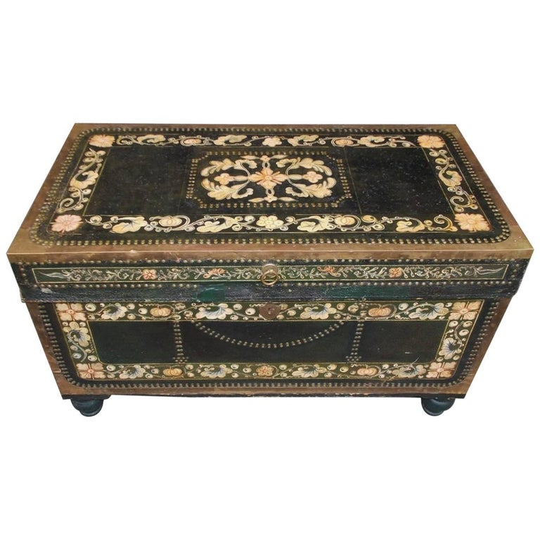 Chinese Campaign Camphor Wood Floral Painted Leather Nautical Chest, Circa 1820