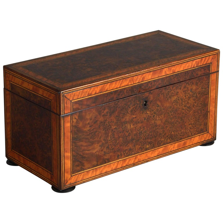 18th Century Burr Yew Wood Tea Caddy For Sale