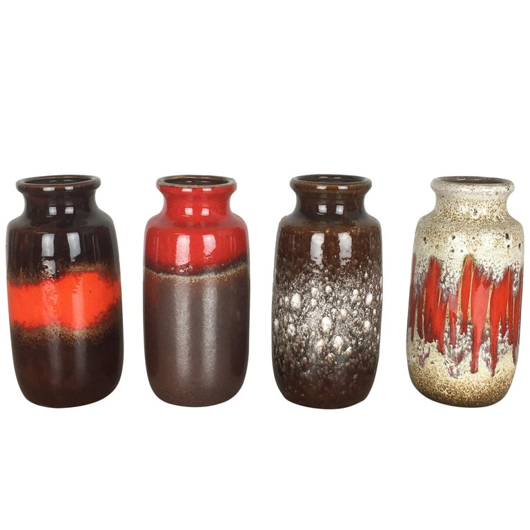 Set Of Four Vintage Pottery Fat Lava Onion Vases Made By Scheurich