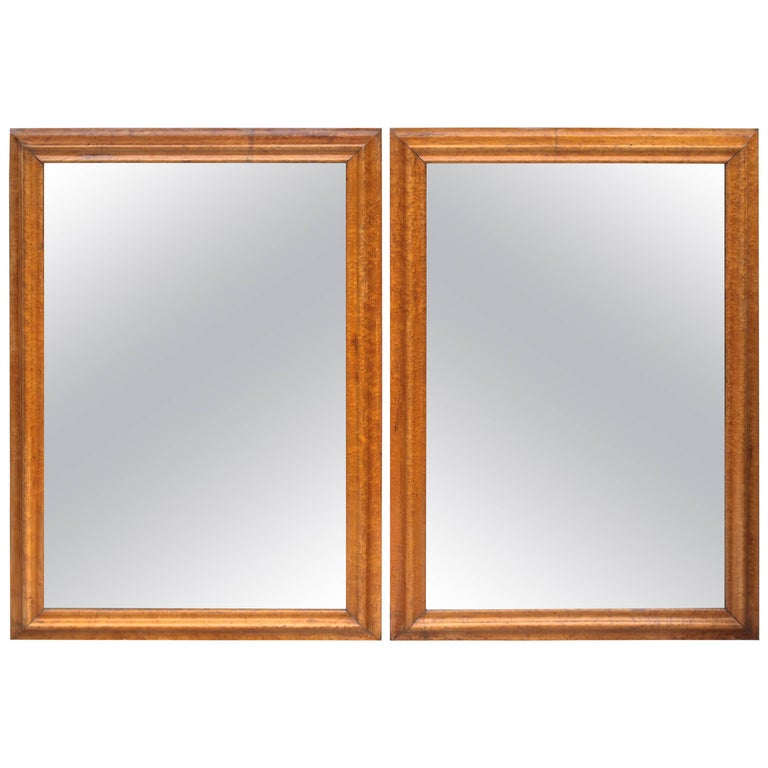Pair of Colonial Revival Birdseye Maple Mirrors For Sale