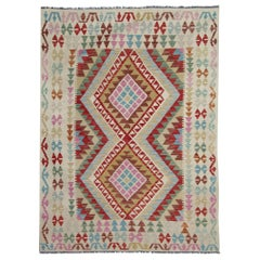 Oriental Rug Hand Made Carpet, Kilim Rugs Multicolored Traditional Rugs for Sale