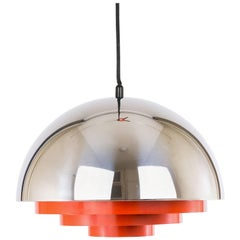 Milieu Pendant in Chrome and Red by Jo Hammerborg for Fog & Mørup, 1970s