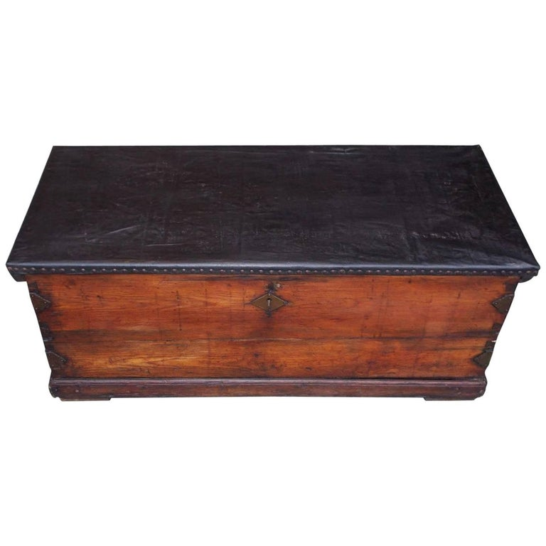 American Pine and Leather Nautical Sea Chest with Braided Rope Beckets, C. 1800