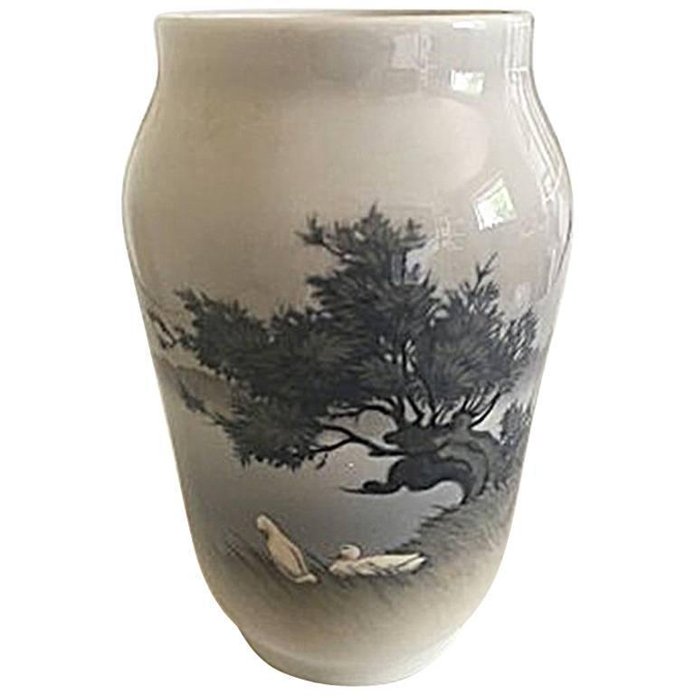 Royal Copenhagen Vase #2253/1217 with Landscape Motif with Two White Ducks For Sale
