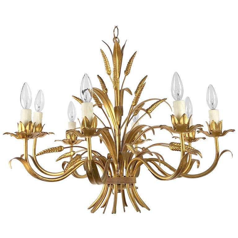 "Italian Wheat Sheaf Eight-Light Hanging Fixture (28"" Diameter)"