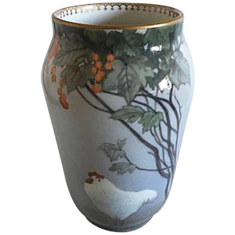 Royal Copenhagen Art Nouveau Vase with Chicken #b1575/1217f