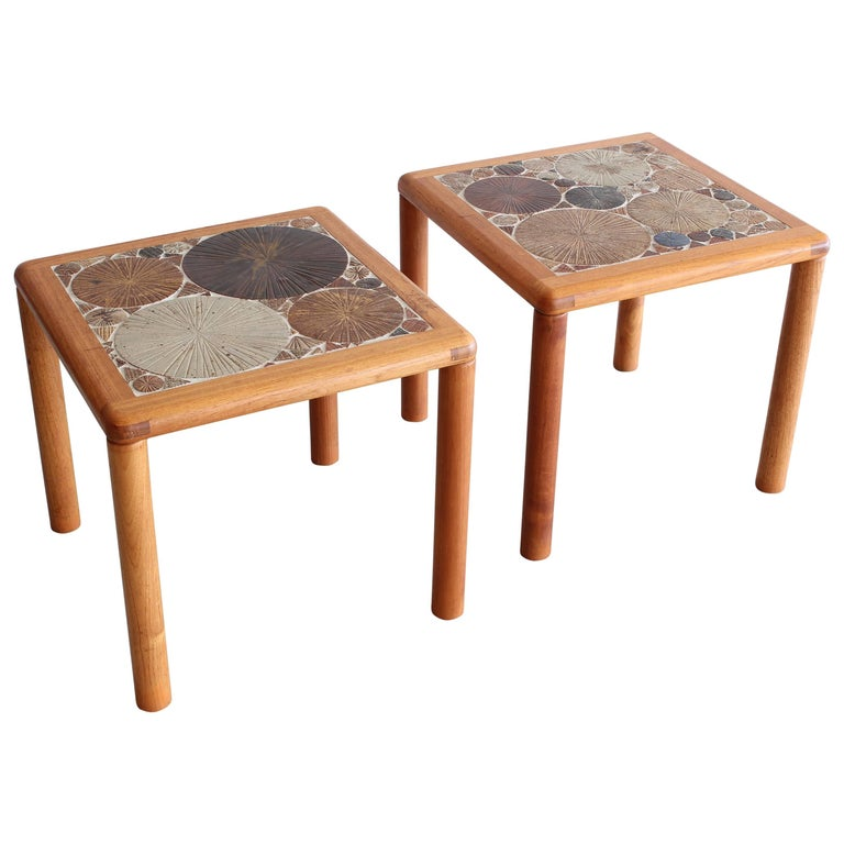 Pair of Tile End Tables by Tue Poulsen