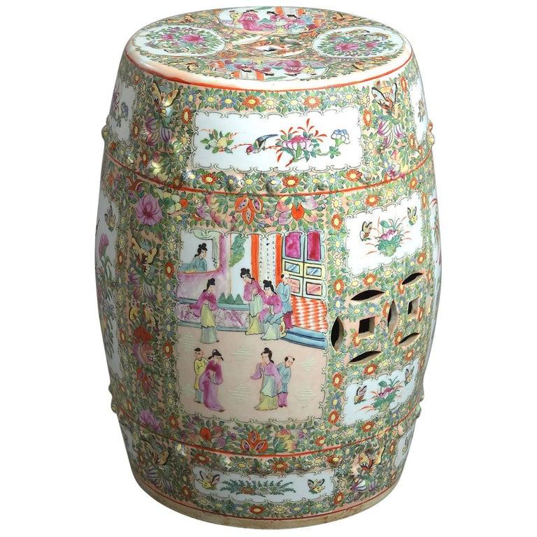19th Century Canton Famille Rose Porcelain Garden Seat