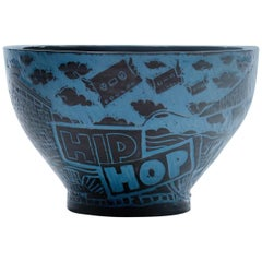 Contemporary Blue and Black Porcelain Hip Hop Bowl III
