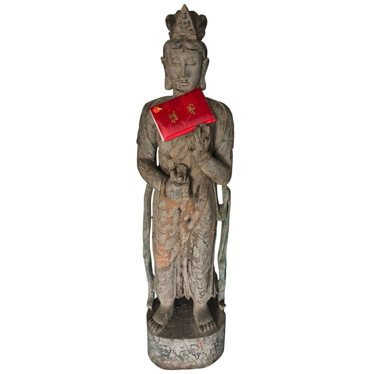 Chinese Wooden Statue Guan Yin For Sale