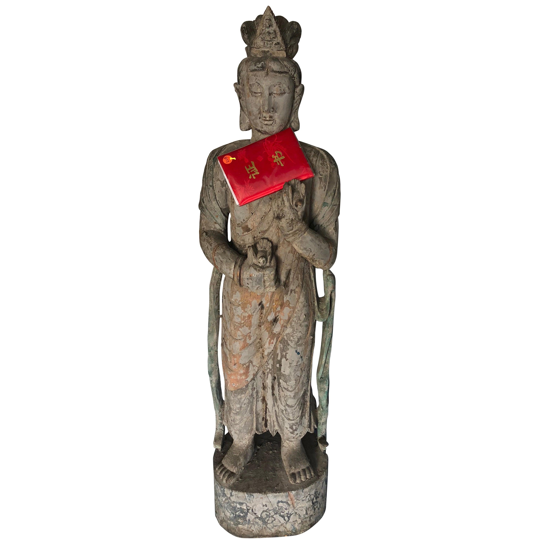 Chinese Wooden Statue Guan Yin