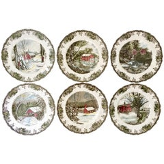"50'S English Transferware "" The Friendly Village"" Dinner Plates Set Of Six"