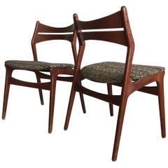 1960s Teak Danish Erik Buck Model 310 Pair of Dining Chairs