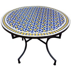 Multi-Color Mosaic Table, Wrought Iron Base Included
