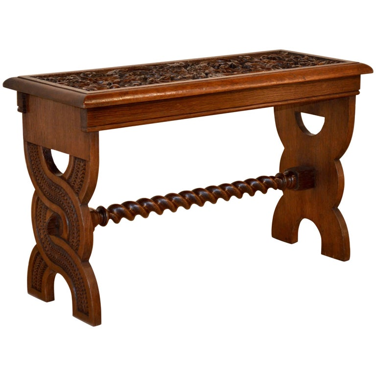 19th Century English Oak Carved Bench