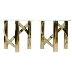 Vintage Brass Side Tables