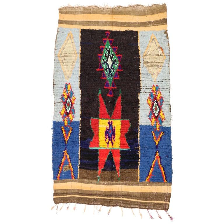 Large Vintage Moroccan Warayne Rug With Meandering Cross