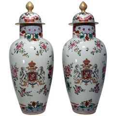 """Large Pair of Antique Samson """"Chinese Export"""" Armorial Porcelain Covered Vases"""