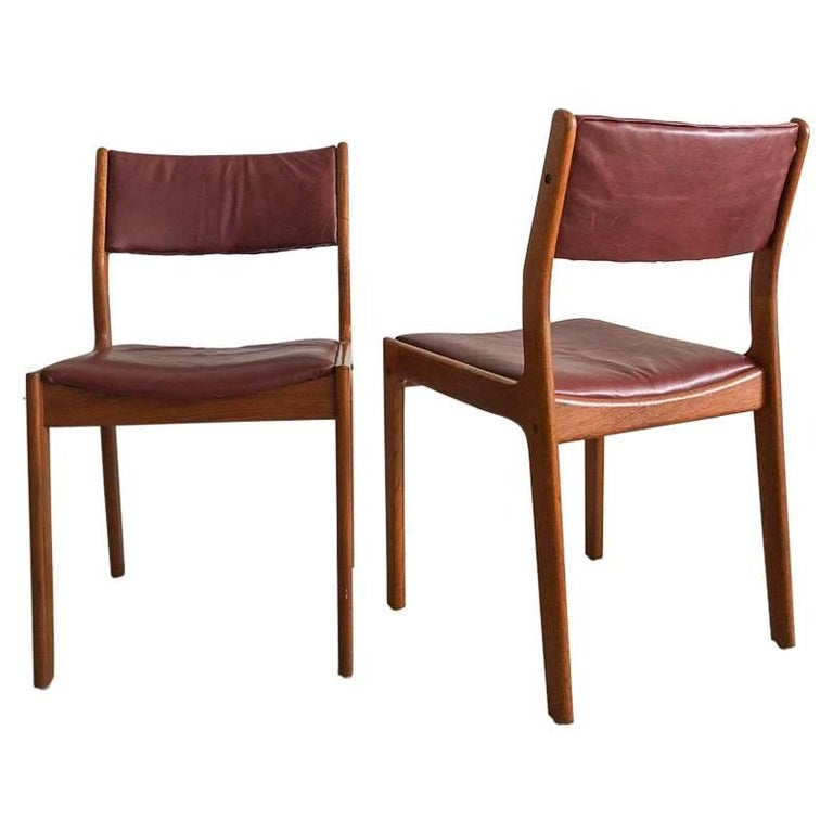 Pair of Midcentury Teak and Genuine Cognac Leather Dining Chairs