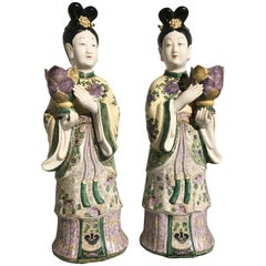 Pair of Chinese Export Porcelain Court Lady Candle Holders, Mid-20th Century