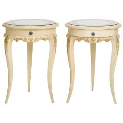 Pair of French Painted and Églomisé Mirrored Top Tables