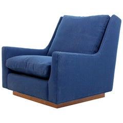 Mid-Century Modern Rare Milo Baughman Wood Plinth Base Lounge Accent Chair 1970s
