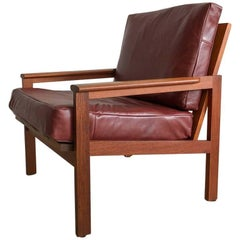 Midcentury Danish Teak No. 4 Chair by Illum Wikkelso in Leather