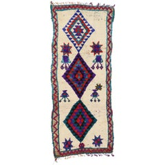 Vintage Berber Moroccan Azilal Rug with Tribal Style, Shag Hallway Runner