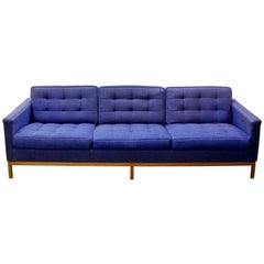 Mid-Century Modern Florence Knoll Three-Seat Lounge Sofa Model 1205 Wood Frame