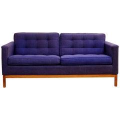 Mid-Century Modern Rare Florence Knoll Tufted Loveseat Sofa Wood Base, 1950s