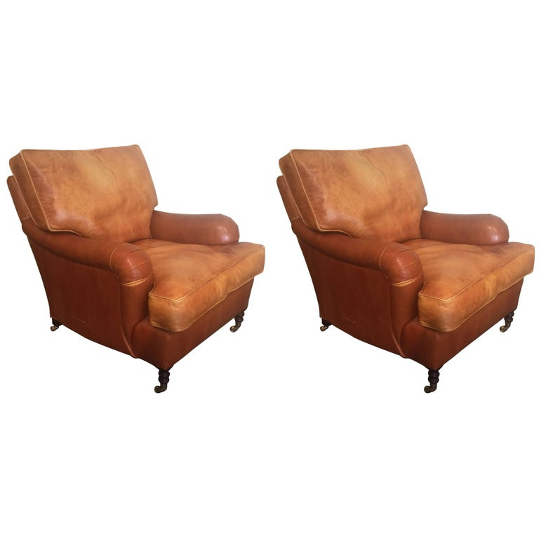 Pair of Distressed Leather Club Chairs by George Smith