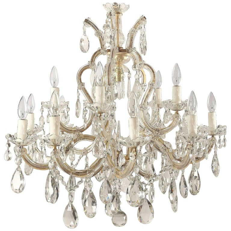 "Large Maria Theresa Sixteen-Light Chandelier (35"" Diameter)"
