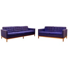 Mid-Century Modern Florence Knoll Pair of Tufted Loveseat & Sofa Wood Base 1950s