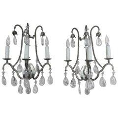 Silvered Three-Light Crystal Sconces, Pair