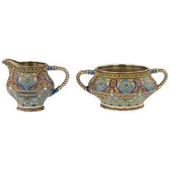 Antique Imperial Russian Kuzmichev Solid Silver, Enamel Bowl and Jug, circa 1900