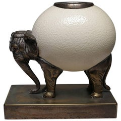Bronze Elephant and Ostrich Egg Sculpture by Anthony Redmile, circa 1970s