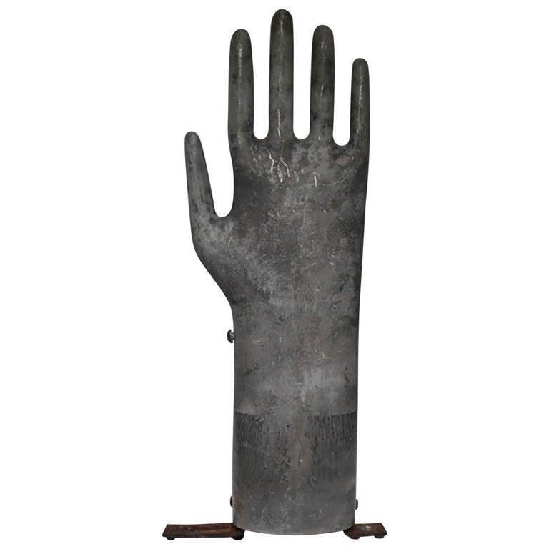 Vintage Mountable Aluminum Glove Mold, circa 1950s-1960s