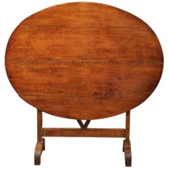19th Century French Oval Walnut Tilt-Top Wine Tasting Table from Bordeaux