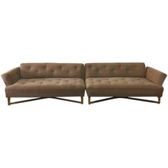 Two-Piece Mid-Century Modern Sofa with Flared Arms