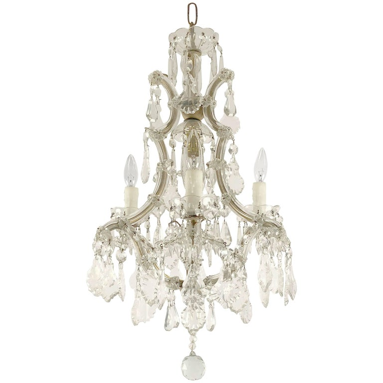 "Italian Maria Theresa Four-Light Chandelier (17"" Diameter) For Sale"