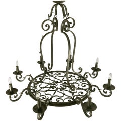 "Large Eight-Light Hanging Fixture of Wrought Iron (47 1/2"" Diameter)"