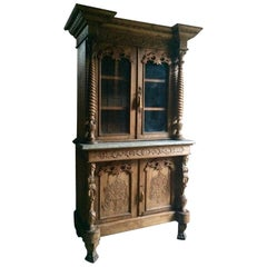 Antique Display Cabinet Glazed Bookcase Marble Heavily Carved Colonial