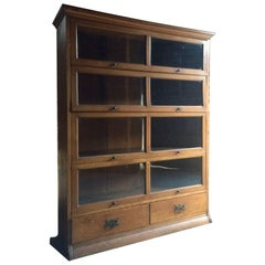Antique Glazed Bookcase Golden Oak Globe Wernicke Style Henry Barker