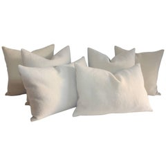 Lambs Wool Cream Pillows, Pair