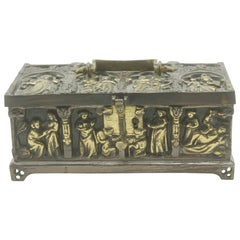 French Bronze Jewelry Casket, Cast Gilt Bronze and Panels of Medieval Scenes
